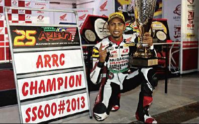 アズラン・シャー・カマルザマン選手がFIMアジアロードレース選手権SS600クラスでチャンピオン獲得